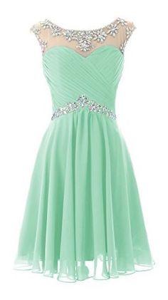 Mint green chiffon knee length short beaded prom dress