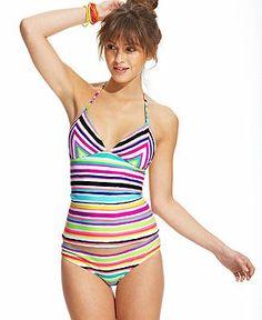 fa438972cbd41 Roxy Striped Halter Tankini Top - Swimwear - Women - Macy s Tankini Top