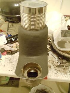 Mini Rocket stove/mass space heater. (rocket stoves forum at permies)