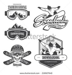 Set of snowboarding emblems, labels and designed elements. Extreme theme, winter games, outdoors adventure. Set 2
