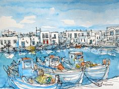 Mykonos Port Greece 12 x 9 art print from an by AndreVoyy on Etsy, $20.00