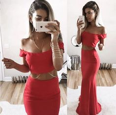 Sexy Red Mermaid Two Piece Prom Dress,2017 Off-Shoulder