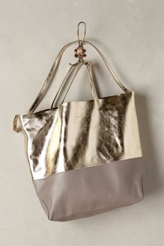 Foiled Taupe Tote - anthropologie.com