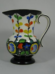 CZECH ART DECO HAND PAINTED POTTERY PITCHER DITMAR URBACH CZECHOSLOVAKIA 1930'S