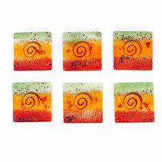 Square Coaster Set of Handmade Fused Glass Decorative Drink Serving Holder, Orange Spiral Design Fabric Gift Bags, Handmade Kitchens, Color Blending, Drink Coasters, Hostess Gifts, Home Decor Items, Coaster Set, Fused Glass, Spiral