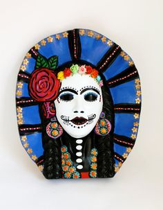 Frida Kahlo // Day of the Dead // Ceramic bust // by TheVirginRose