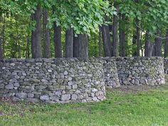 Serpentine rock wall