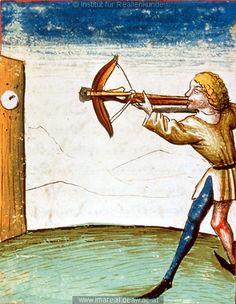 Scheibenschießen   Dieses Bild: 006765     1479 ; 1479 ; Wien ; Österreich ; Wien ; Österreichische Nationalbibliothek ; cod. 3049 ; fol. 168r