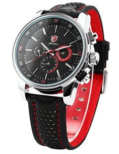 9d0e1ecb74b SHARK Mens 6 Hands Date Day 24Hrs Black Red Sport Quartz Wrist Watch Box  SH094