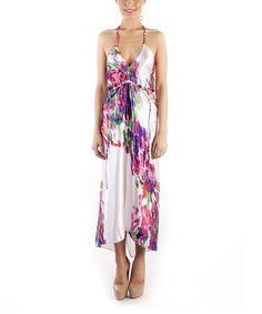 Coral Modern Flower Grand Halter Dress