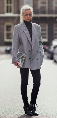 Luv double-breasted oversized blazer with skinny jeans . .. fresh