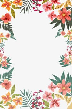 Stock In 2020 in tropical flower drawing Summer flower border shape Flower Backgrounds, Flower Wallpaper, Wallpaper Backgrounds, Tropical Flowers, Summer Flowers, Borders And Frames, Page Borders, Floral Border, Border Design