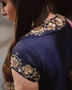 """ TAABEER"" ""The interpretation of dreams."" Fall winter 2018 Come . Saree Blouse Neck Designs, Neckline Designs, Back Neck Designs, Bridal Blouse Designs, Kurta Designs, Hand Embroidery Dress, Embroidery Neck Designs, Embroidery Suits, New Dress Design Indian"