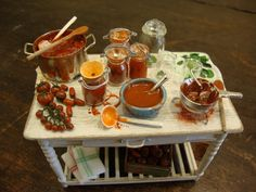 Miniature table set up prepare the italian the tomato conserve on Etsy