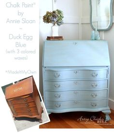 Secretary Desk Makeover w/ Duck Egg Blue & 3 Colored Waxes (Chalk Paint® by Annie Sloan) - Artsy Chicks Rule® Chalk Paint Projects, Diy Furniture Projects, Chalk Paint Furniture, Furniture Making, Furniture Wax, Furniture Refinishing, Dresser Refinish, Homemade Furniture, Furniture Design