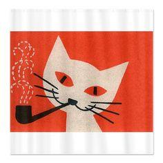 White Cat, Pipe, Retro, Vintage Poster Shower Curt