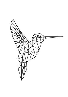 Geometric Humming bird Animal Tattoo Design