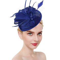 0e3ceb1ad81ab Fascinators for Women Tea Party Hat Kentucky Derby Hat and Flower Mesh Hair  Clip and Headband