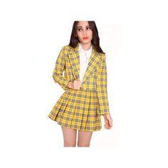 Designer Clothes, Shoes & Bags for Women Yellow Tartan Skirt, Yellow Blazer, Plaid Jacket, Plaid Blazer, Blazer Jacket, Cher Clueless, Clueless Outfits, Plaid Outfits, Blazer Outfits