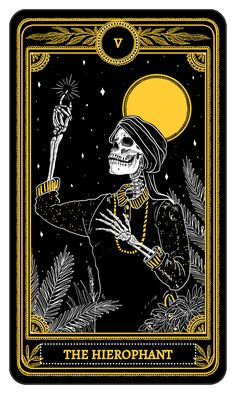 The origins of the Tarot are surrounded with myth and lore. The Tarot has been thought to come from places like India, Egypt, China and Morocco. Others say the Tarot was brought to us fr Tarrot Cards, Tarot Tattoo, Arte Black, The Hierophant, Tarot Major Arcana, Arte Obscura, Skeleton Art, Tarot Learning, Tarot Readers