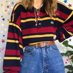 Casual Stripe Loose Fitting Long-Sleeved Shirt - SKU: Material: Cotton Blended Collar Type: V Neck Season: Spring/ Autumn/ Winter How - Indie Outfits, Teen Fashion Outfits, Retro Outfits, Cute Casual Outfits, Grunge Outfits, Vintage Outfits, Girl Outfits, Vintage Clothing Styles, 80s Inspired Outfits