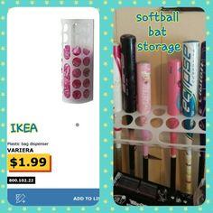 Turn an IKEA dispenser into a softball bat storage caddy Plastic Bag Dispenser, Baseball Gear, Storage Caddy, Fastpitch Softball, Ikea, Ikea Co