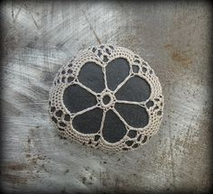 Crocheted Lace Stone Handmade Original Light Mocha by Monicaj