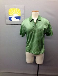 NWT COMO SPORT Made In Italy GreenStripped/Pull-On Unisex Shirt/Polo Sz Petite L
