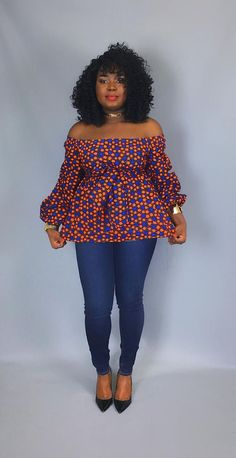 African print off shoulder top with sash ,african clothing,women's Latest African Fashion Dresses, African Print Dresses, African Print Fashion, Africa Fashion, African Dress, Ankara Fashion, African Blouses, African Tops, African Women