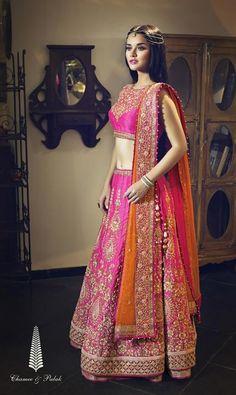 Pink & Orange Lehenga by Chamee & Palak | Jivaana.com |  Bridal | Indian Wedding Website : www.Jivaana.com | Indian Wedding Ideas & Vendors Online | Bridal Lehenga Photos | Designer Lehenga | photoshoot | designs | inspiration | bridesmaids | 2015 | inspiration