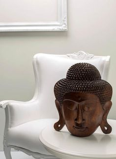 Giant Buddha Head - Handcrafted wood, masterpiece sculpture from Bali. Spiritual decoration for unique places... Feel the good energy expressed from the head of Buddha. #art #bali #balinese #handcrafted #decoration #decorativeart #dekor #elyapımı #woodart #zanaat #buddha