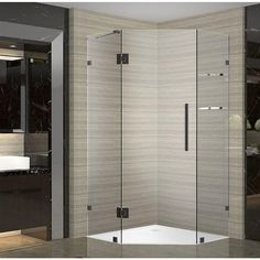 Aston Neoscape GS 42 in. x 42 in. x 72 in. Frameless Neo-Angle Shower Enclosure with Shelves in Oil Rubbed Bronze