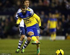 20 January 2014 Kevin Mirallas bursts forward onto a headed knock on from Romelu Lukaku to gives the Blue s the lead at West Brom, a game that ended 1-1