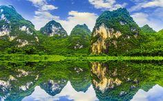 Lataa kuva Bambu, metsä, viidakko, vuoret, kiviä, lake, Kiina