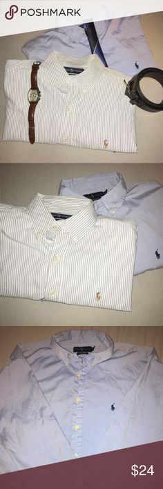Two (2) XL Men's Polo Button Down Shirts Blue Two great blue color Ralph Lauren Polo Button Down Dress Shirts. The lighting makes it difficult, but the first shirt is a seersucker look white with very light blue stripes. Sort of shows up grey online, but it is the classic seersucker look and is an XL. The all blue button up is the Yarmounth style and is of lighter cotton material. The size on this is also an XL, official dress shirt size 17.5 34/35. Both are preowned but in excellent…