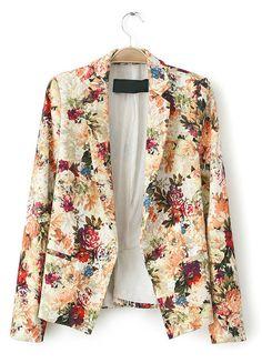 Apricot Notch Lapel Long Sleeve Floral Blazer - Sheinside.com