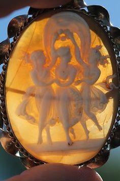 Vintage Huge Gold Filled Three Graces Carved Shell Cameo Brooch Pendant | eBay