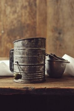Antique Grey Flour Sifter and Measuring Cups