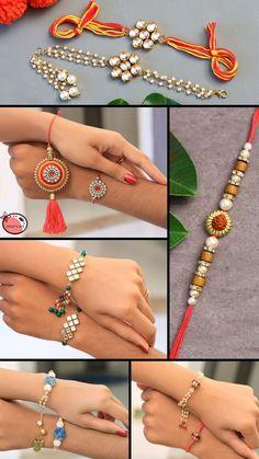 Handmade Rakhi Designs, Handmade Jewelry Designs, Handmade Design, How To Make Rakhi, Small Stories For Kids, Silk Thread Earrings Designs, Rakhi Making, Diwali Diy, Rakhi Gifts