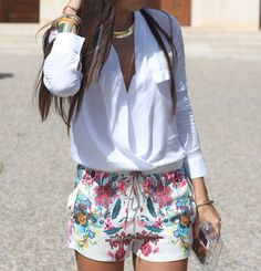 Silk printed shorts.  This is a cute look.