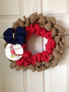 St Louis Cardinals wreath by AGWreaths on Etsy... I would make some changes but I love this concept.