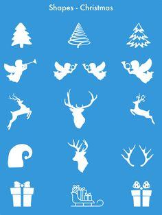 Premium Pixelmator Shapes - Christmas Icons v3 Christmas Icons, Shapes, Templates, Decor, Stencils, Decoration, Vorlage, Decorating, Models