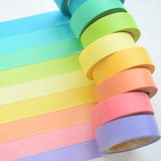 Washi Tape (9 rolls), Rainbow Washi Tape, 9 Colors Washi Tape, Pure Color Washi Tape, BASIC Washi Tape