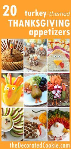 THANKSGIVING APPETIZERS: 20 fun turkey-themed snacks.