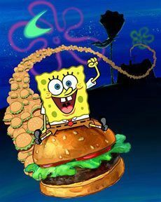 Spongebob squarepants is goofy cuz he is riding an Krabby Patty thingy a magie Spongebob Patrick, Spongebob Memes, Spongebob Squarepants, Spongebob Anime, Stephen Hillenburg, Bob Sponge, Pineapple Under The Sea, Cool Cartoons, Classic Cartoons