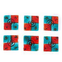 Square Coaster Set of Handmade Fused Glass Decorative Drink Serving Holder, Aqua Blue Spiral Design Glass Coasters, Drink Coasters, Handmade Kitchens, Practical Gifts, Color Blending, Home Decor Items, Coaster Set, Aqua Blue, Fused Glass