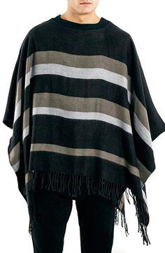 Topman Stripe Woven Poncho