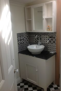 Made to order cabinet & top cabinet for small compact bathroom