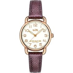 Delancey White Dial Ladies Metallic Cherry Leather Watch