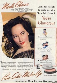 Authentic 1940s Makeup History and Tutorial. Pan-Cake powder by Max Factor Hollywood